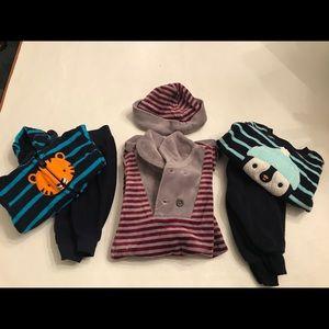New born boy matching fleece sets